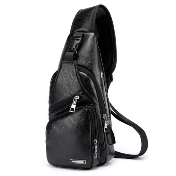 Men's Leather Travel Sling Chest Bag with USB Charging