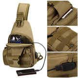 Molle Single Shoulder Sling Chest Backpack with USB Charging
