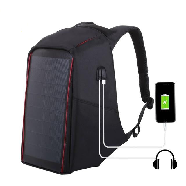 Men's 12W Solar Powered Anti-Theft Backpack with USB Charging