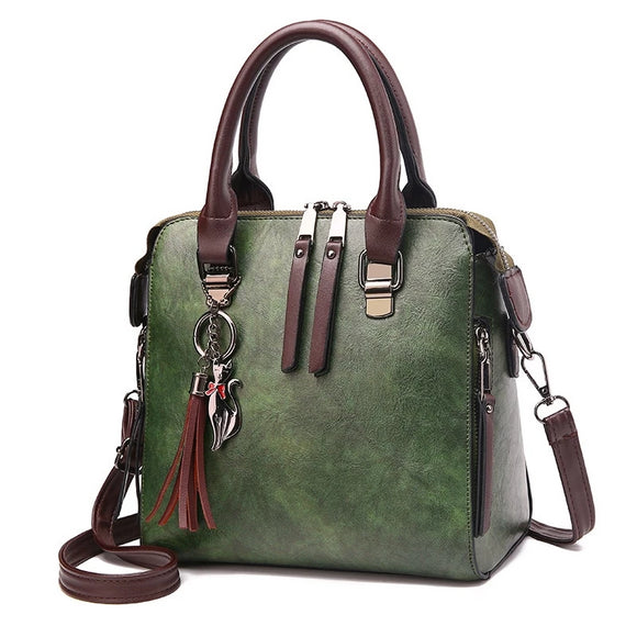 Women's Vintage Vegan Leather Medium Handbag