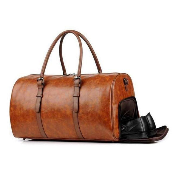 Men's Medium Vegan Leather Barrel Travel Duffel Bag