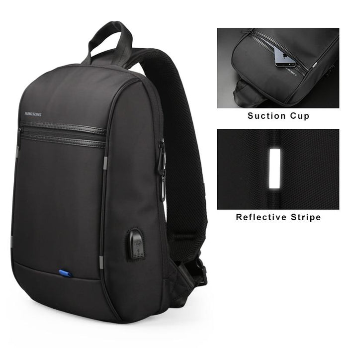 "Men's Small Single Shoulder Anti-Theft 13"" Laptop Backpack with USB Charging"