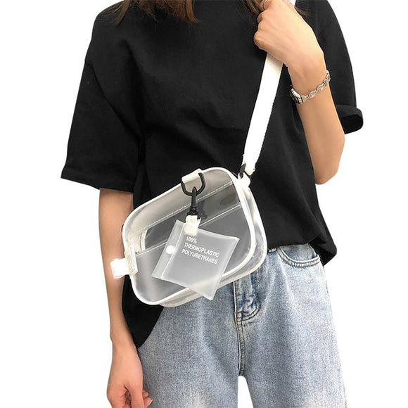 Women's Casual Recycled PVC Transparent Stadium Approved Crossbody Bag