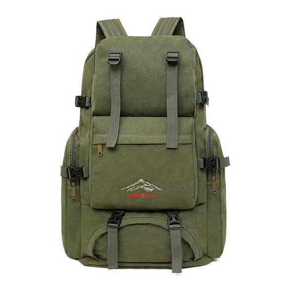 60L Large Canvas Camping Hiking Backpack
