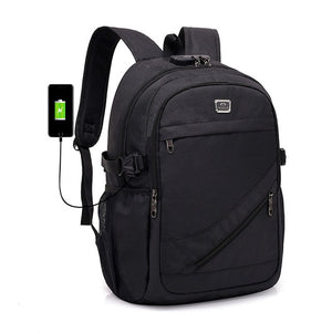 "Large Anti-Theft Oxford School 15"" Laptop Backpack with USB Charging and TSA Lock"