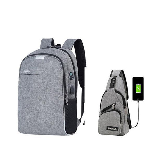 Anti-Theft Laptop Backpack w/ USB Charging and Lock with Matching Small Sling USB Bag