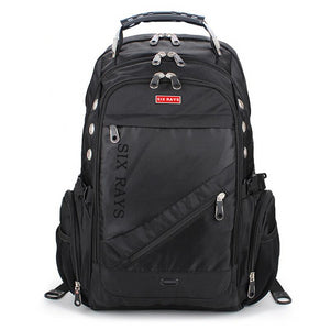 Large Capacity 3 Compartment Heavy Duty Nylon Travel Backpack with Lock and Rain Cover