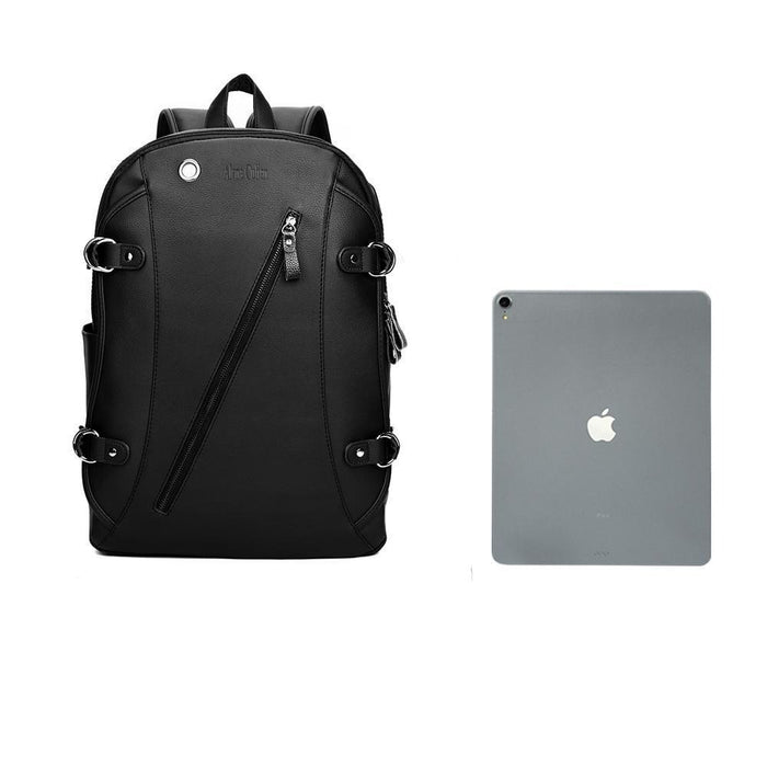 "Men's Leather Casual 13"" Laptop Backpack with USB Charging"