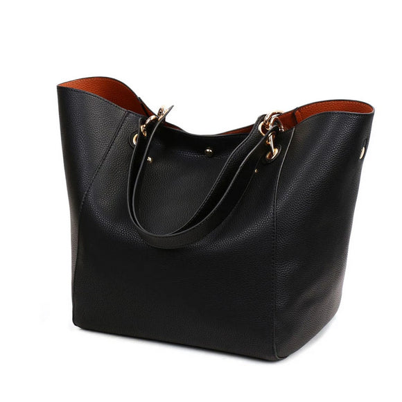 Women's Classic Large Vegan Leather Bucket Tote Handbag