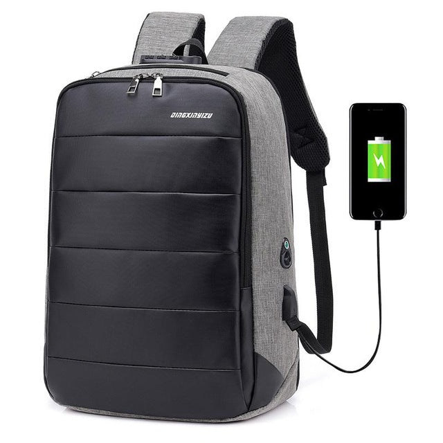 "Medium Men's Anti-Theft 15"" Laptop Backpack with USB Charging and TSA Lock"