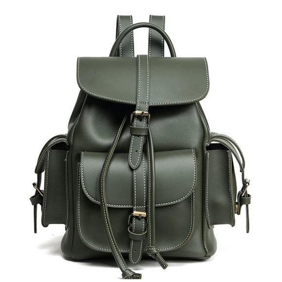 Women's Small Vintage Vegan Leather Backpack with Side Pockets