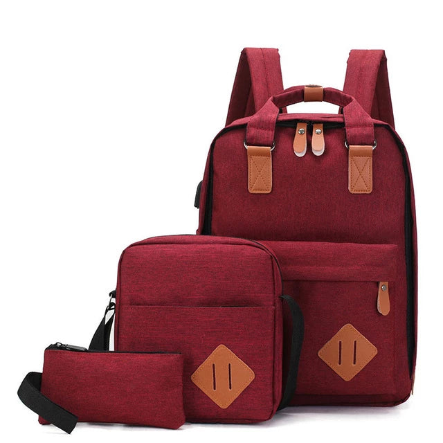 Women's Heather Vintage School Backpack with USB Charging, Small Crossbody Bag and Accessory Pouch Set
