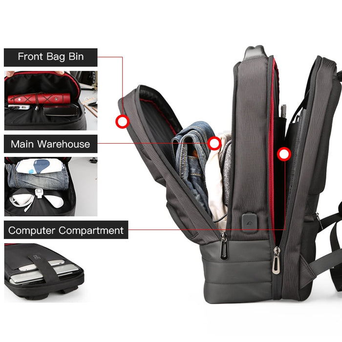 "Men's Large Capacity 15"" Laptop Backpack with USB Charging"
