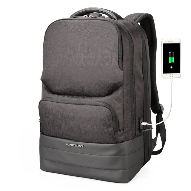 "Kingsons Men's Large Capacity 15"" Laptop Backpack with USB Charging"