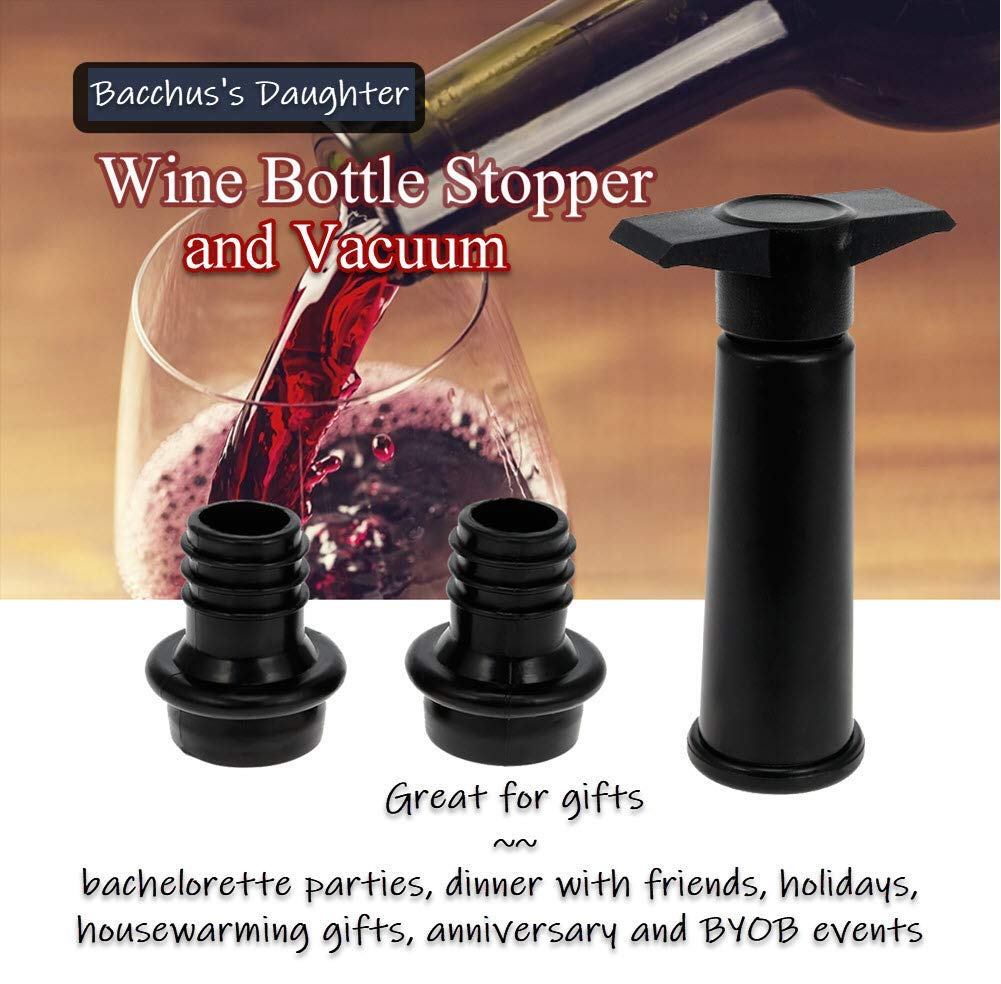 WINE SAVER VACUUM PUMP PRESERVER & STOPPERS SET BUNDLED WITH SILICONE TOTE & WINE CHARMS BY BD