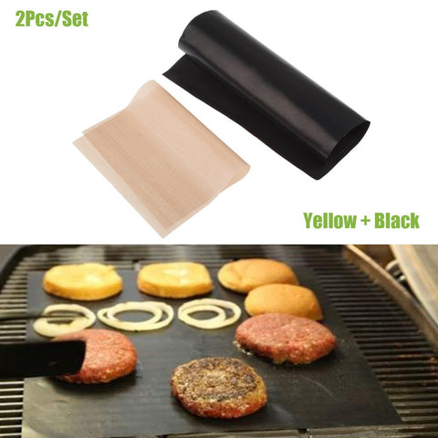 2pcs/Set BBQ Grill Mat Pad Sheet Hot Plate