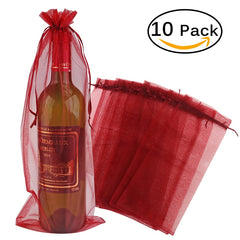 10pcs Sheer Organza Wine Bottle Cover Wrap Gift Bags