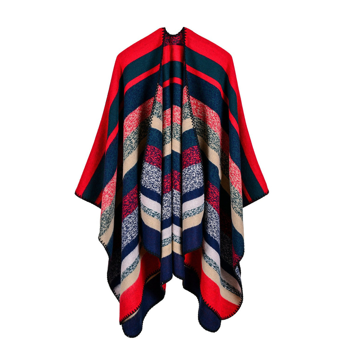 Women Long Striped open front Poncho Wrap