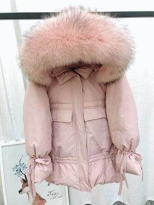 Women Duck Down Parkas Medium Long Jackets with Raccoon Fur Hooded