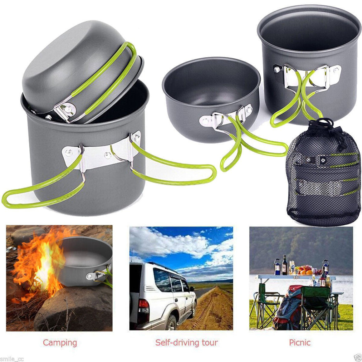 4PCS Outdoor Camping Cookware Backpacking Cooking Picnic Bowl Pot Pan Set US