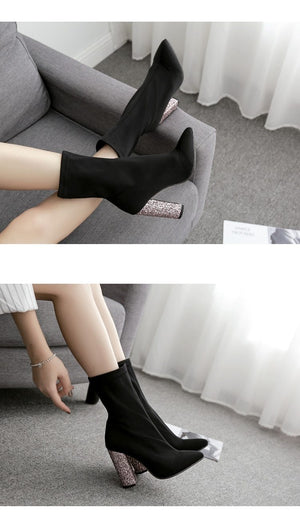 Women Stretch Fabric Bling Chelsea Ankle Boots