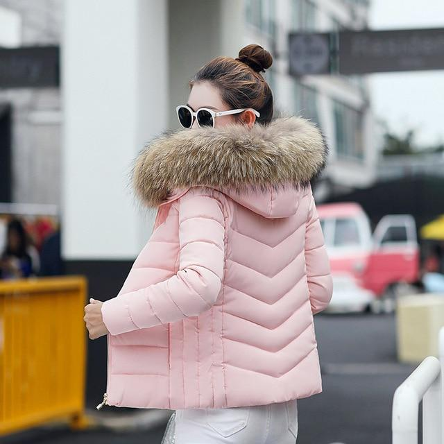Women Hooded Slim Parka Coat with Hooded Fur Collar