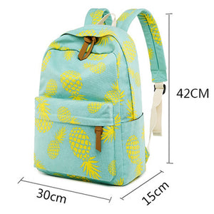 Pineapple School Backpack with Lunch Box