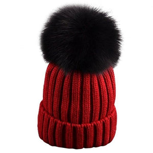 Women Hats Beanie Fox Fur Pompons