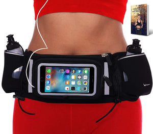 Touch Screen Running Belt, Waist Pack, Fanny Pack for Runners, Phone Holder with Dual Pockets for Hydration