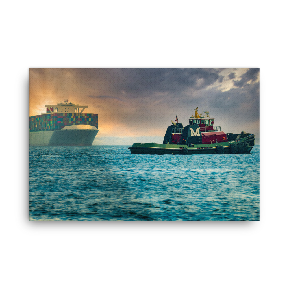 Tugboat Waiting For A Ship On Canvas