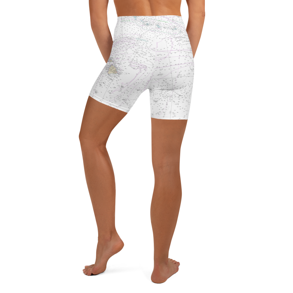 Hawaii Nautical Chart Yoga Shorts