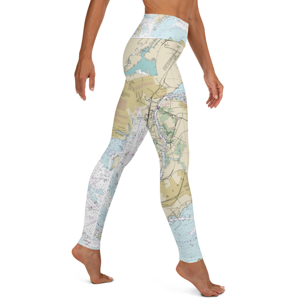 New York Nautical Chart Yoga Leggings