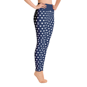 Anchors And Hearts Yoga Leggings