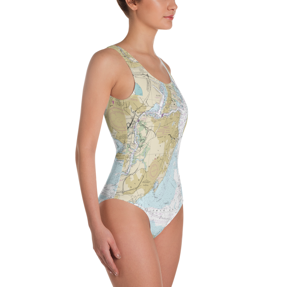New York Nautical Chart One-Piece Swimsuit