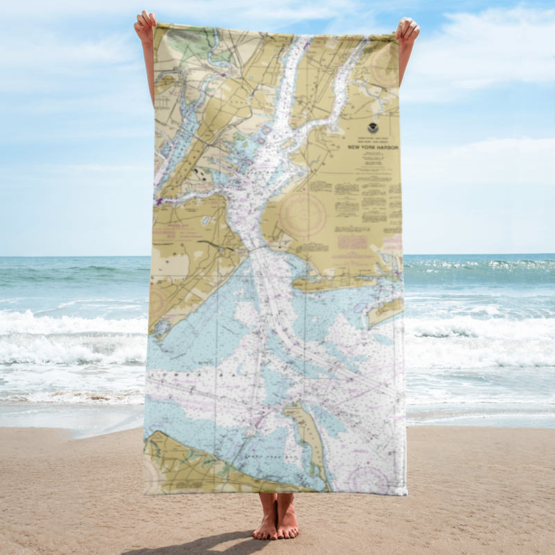 Authentic Nautical Chart Beach Towel