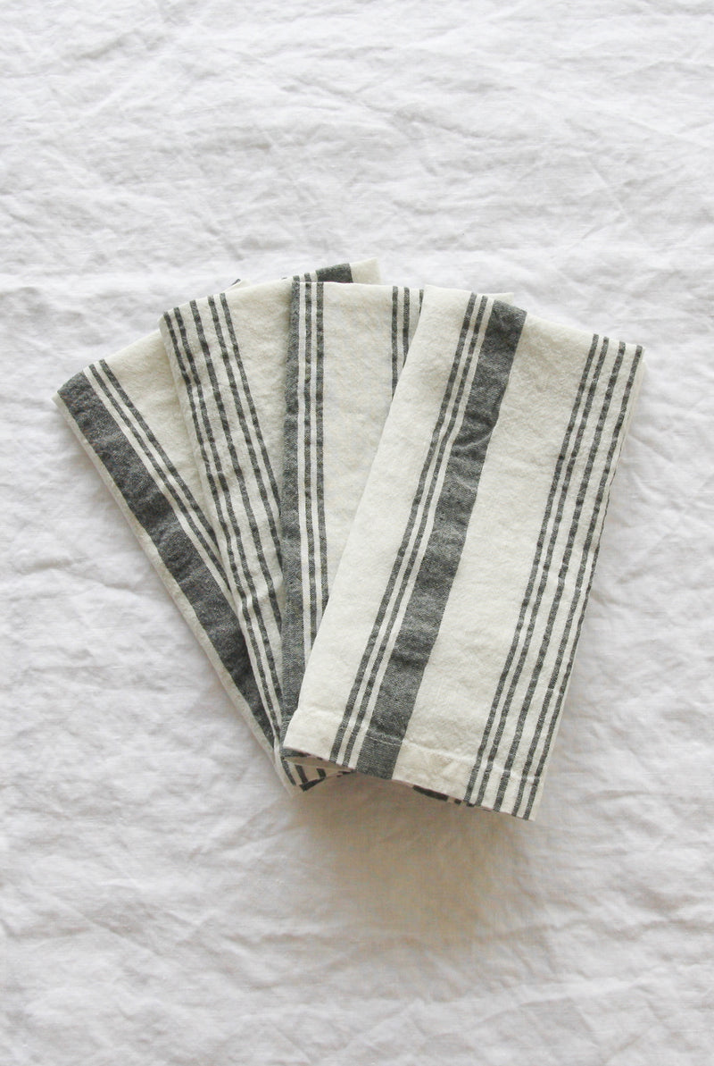 Linen Social - Grey French Stripe Napkin