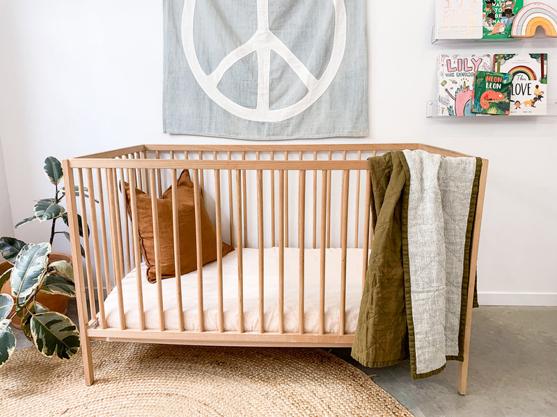 Olive and Pinstripe Cot Quilt