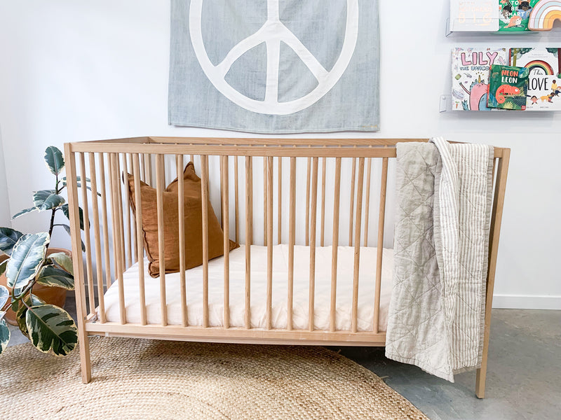 Oatmeal and Natural Stripe Cot Quilt
