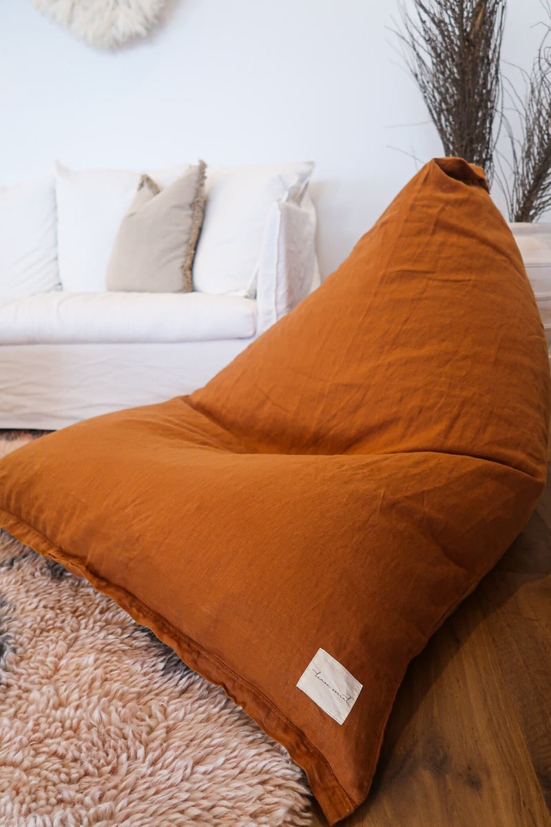 Tobacco Linen Bean Bag