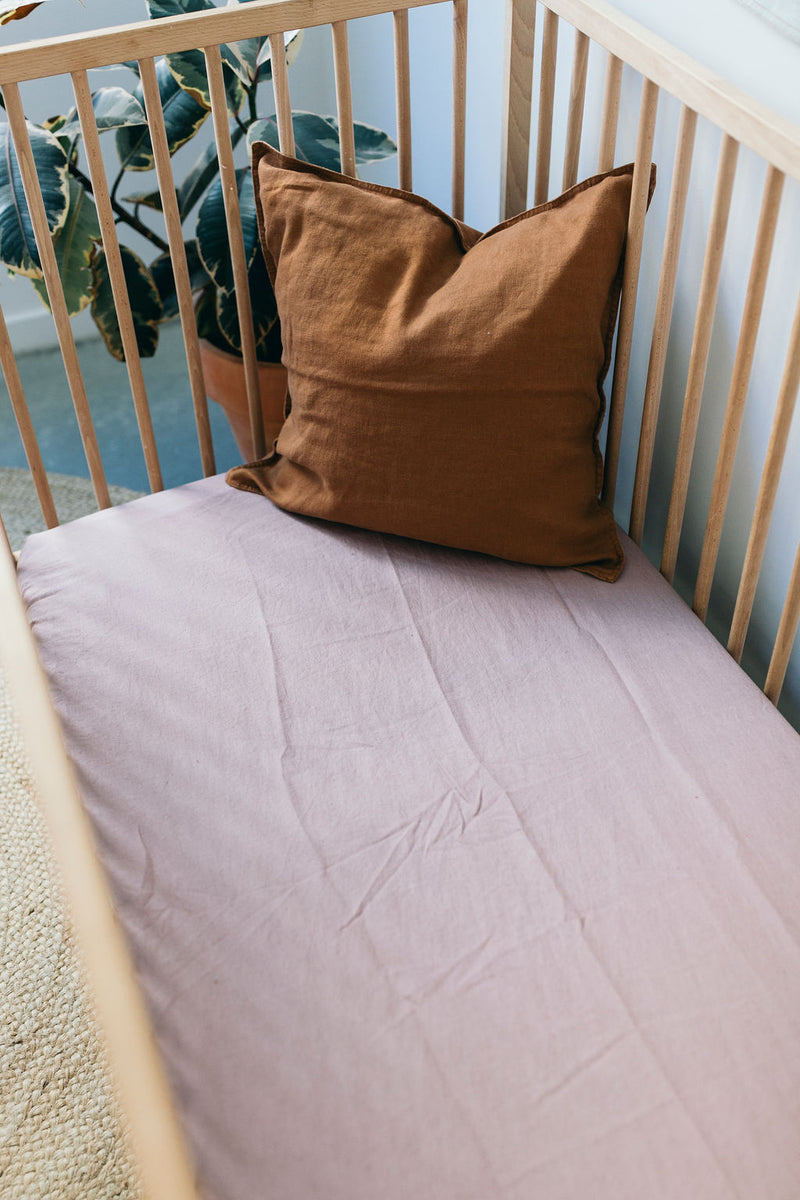Dusty Pink Linen Cot Sheet