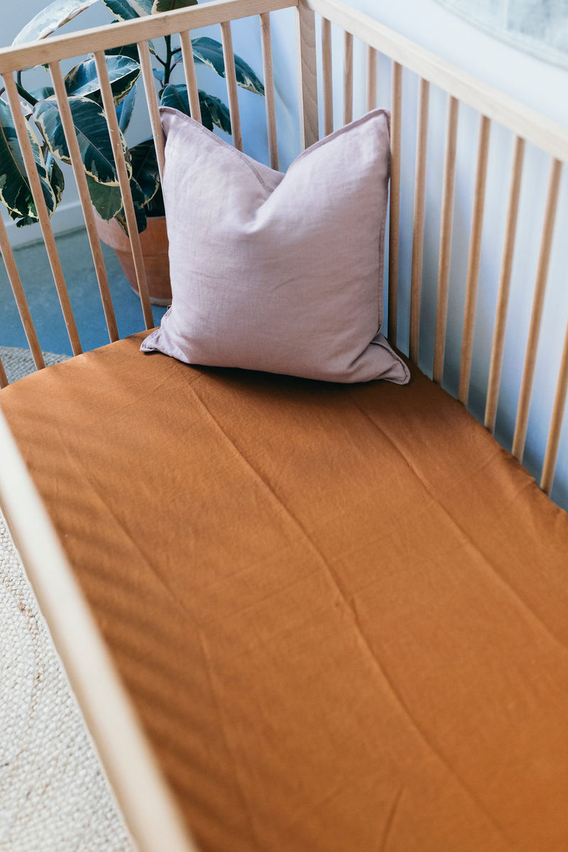 Tobacco Linen Cot Sheet