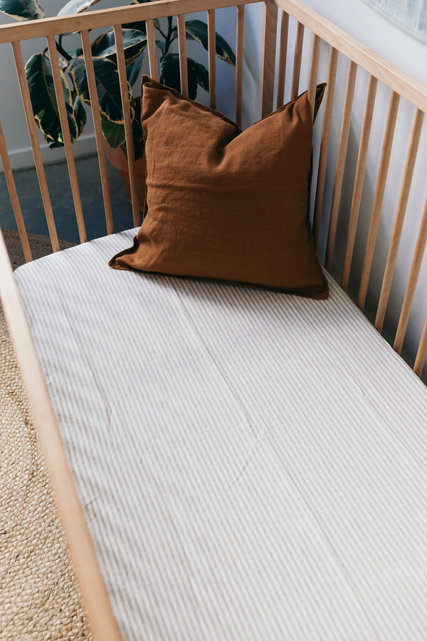 Natural Striped Linen Cot Sheet