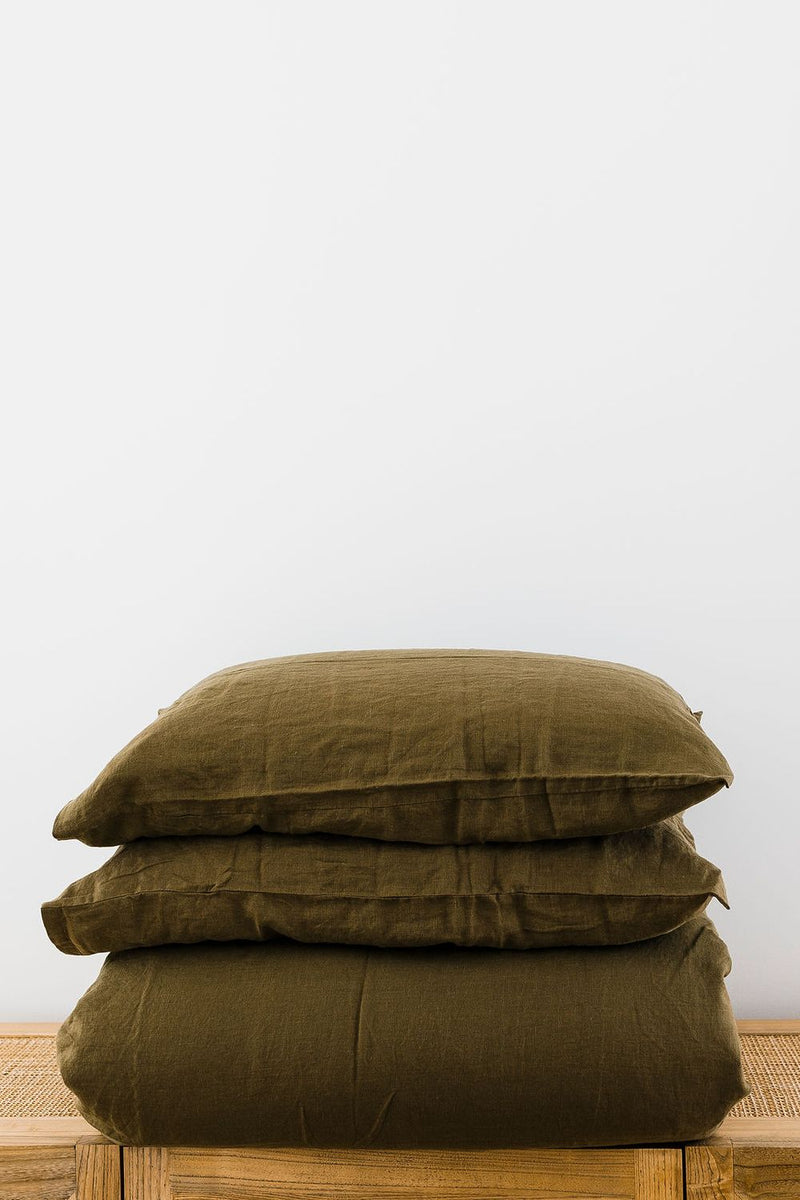 Olive Standard Linen Pillowcase (Set of 2)