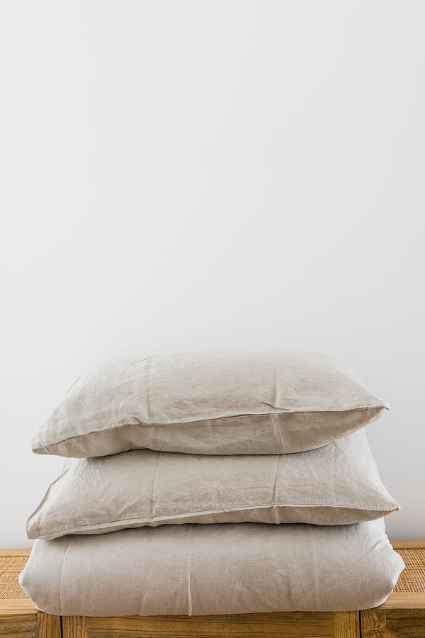 Soft Grey Linen Duvet Cover