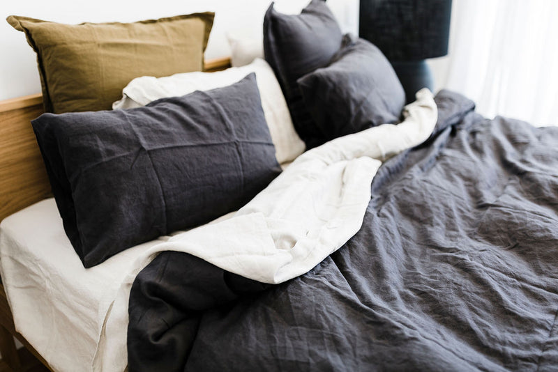 Charcoal Linen Duvet Cover Set