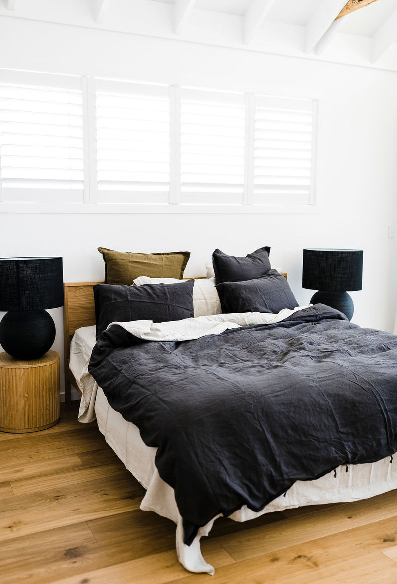 Charcoal Linen Bedding Set