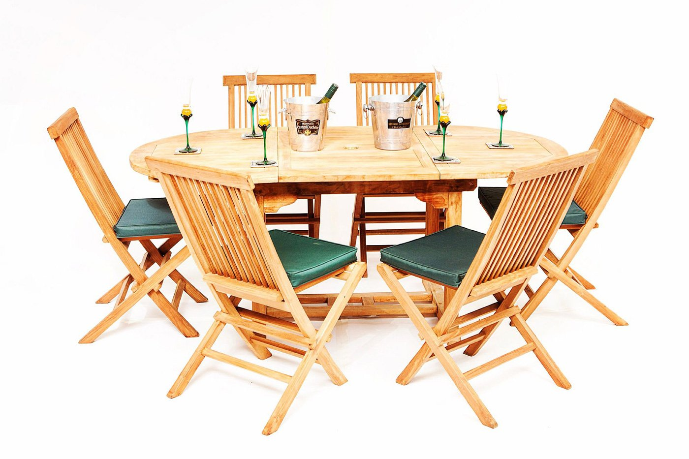 The Beverley Teak 6 Seater Garden Table Chairs Set