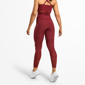 Waverly Mesh Tights / Sangria Red - LoadedGym