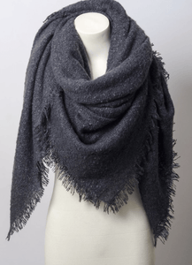 Warm Open Weave Navy Blue Blanket Scarf
