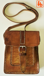 Leather Bag, Hand Stitched, Shoulder Purse, Crossbody Mini Messenger.